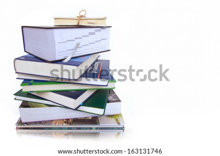 Stack of books. education concept on white background.  - stock photo
