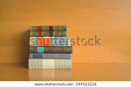 stack of books, free copy space - stock photo