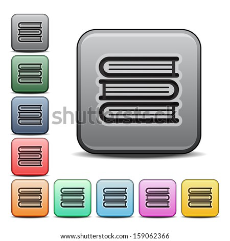 Stack of Books Icon Square Icon Set with Color Variations. Raster version. - stock photo