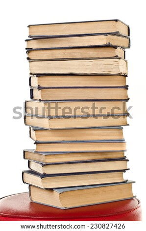 stack of books isolated on a white background - stock photo