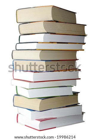 Stack of books isolated on white background. - stock photo