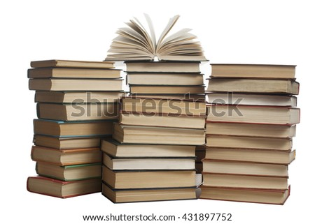 Stack of books isolated on white background. Education concept. Back to school - stock photo