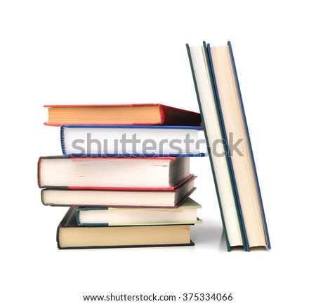 Stack of books isolated or back to school on the white background