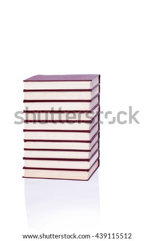 Stack of books isolated the white background - stock photo