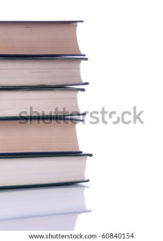 Stack of books isolated with reflection