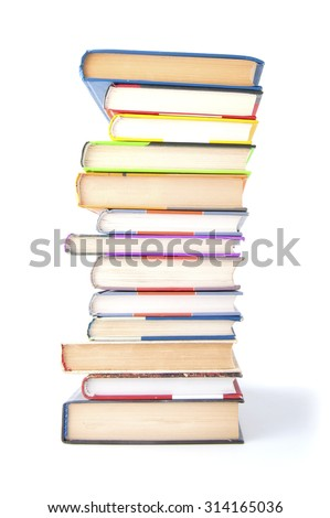 Stack of books on a white background.  - stock photo