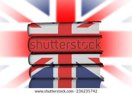 Stack of Books over Union Jack Flag.British Education System Concept. - stock photo