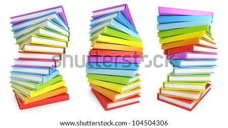 Stack of books with different perspectives. White background. 3d render - stock photo