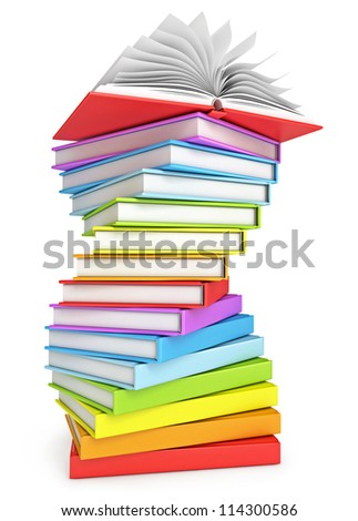 Stack of books with open book on the top. Isolated on white background. 3d render