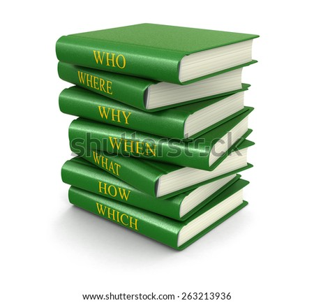 Stack of books with questions (clipping path included) - stock photo