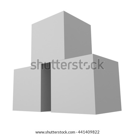Stack of boxes isolated on white background. 3d render - stock photo