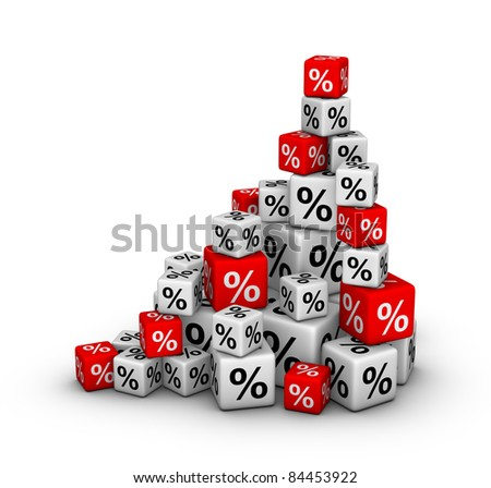 Stack of boxes with percent sign (sales or finance concept) - stock photo