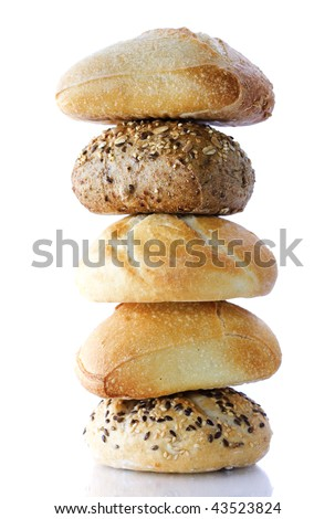 Stack of Bread on white background - stock photo