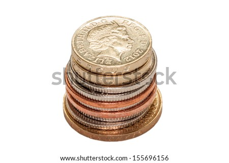 Stack of British Coins Isolated on White