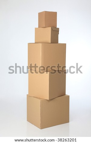 stack of brown card box on the plain background