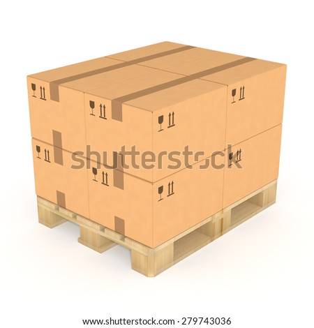 Stack of brown cardboard boxes on a wooden pallet. Isolated on white background. Distribution facility and warehouse. Retail, logistics, delivery, storage and shipping concept.  - stock photo