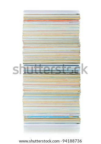 stack of business cards on the isolated over white - stock photo