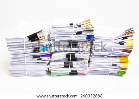 Stack of business papers isolated on white background - stock photo