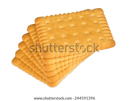 stack of butter biscuits on white background - stock photo