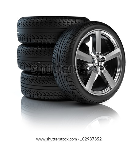 Stack of Car wheels - stock photo