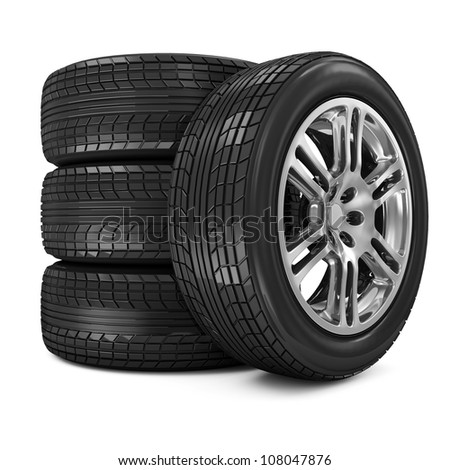 Stack of Car Wheels isolated on white background - stock photo
