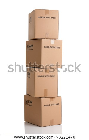 Stack of card boxes ready to be shipped isolated on white background - stock photo