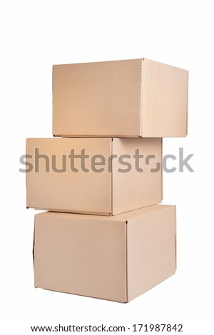 Stack of cardboard boxes isolated on white