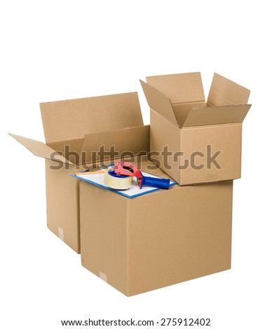 Stack of cardboard boxes isolated on white background with tape and blank paper - stock photo