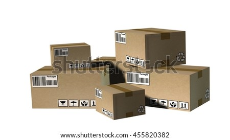 Stack of cardboard  boxes or parcels - Shipping and logistics concept - 3d rendering