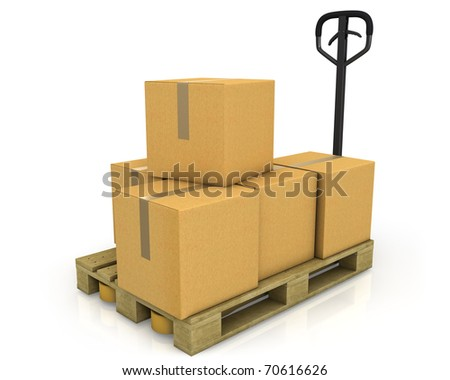 Stack of carton boxes on a pallet with a pallet truck isolated on white background - stock photo
