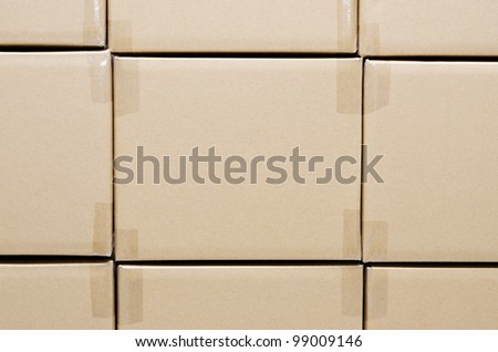 Stack of carton boxes package for background - stock photo