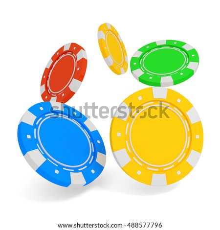 Stack of casino chip isolated on white background. 3d rendered illustration