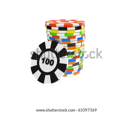 stack of casino counters and one hundred separated - stock photo