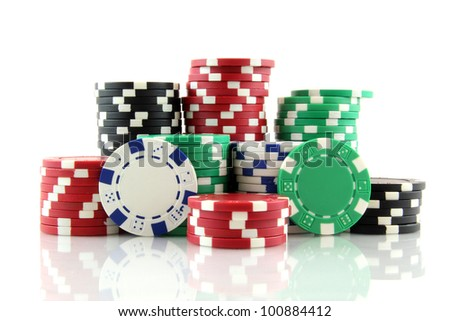 stack of casino gambling chips on white background - stock photo