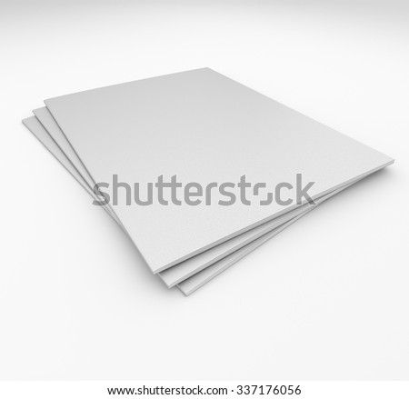 stack of catalogs or magazines isolated on white