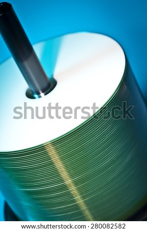 Stack of CD/DVD ready for burning - stock photo