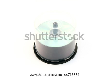 Stack of CDs/DVDs on Spindle - stock photo