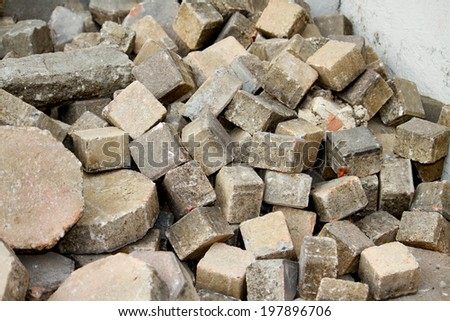 Stack of cement block pathway - stock photo