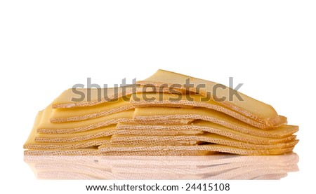 stack of cheese slice isolated on white
