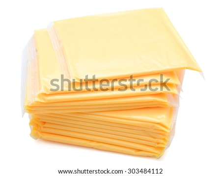 stack of cheese slices on white back ground