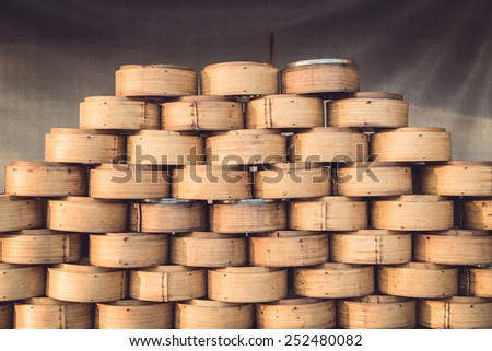 Stack of Chinese Bamboo Steamer for Steaming Chinese Food - stock photo
