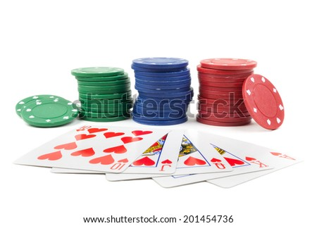 Stack of chips and a royal flush on a white background