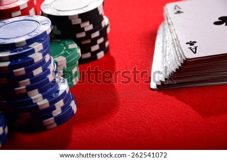 Stack of chips and cards. Poker. Blackjack. Roulette. - stock photo