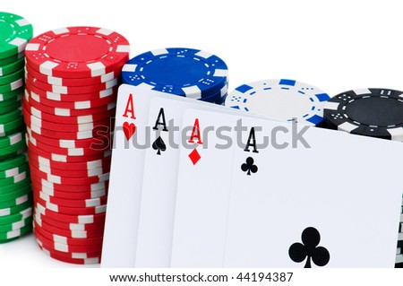 Stack of chips isolated on the white background - stock photo