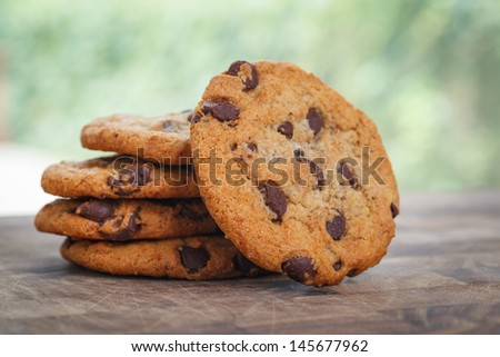 Stack of Chocolate chip cookie - stock photo