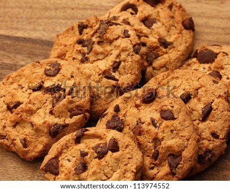 stack of chocolate chipped cookies - stock photo