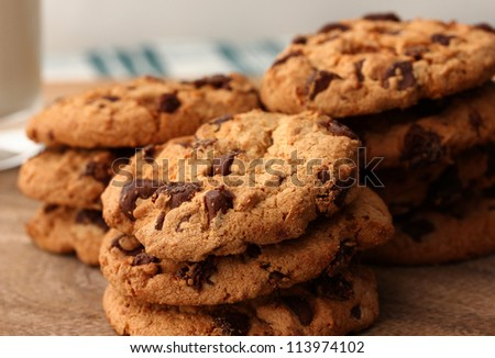 Stack of chocolate cookies - stock photo