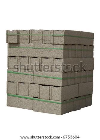 Stack of cinder blocks ( concrete masonry units ) isolated on white - stock photo