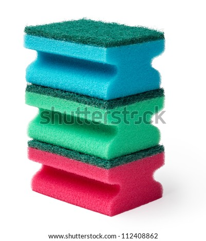 stack of cleaning sponges isolated on white background