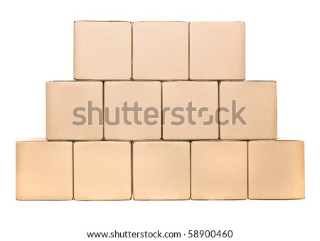 Stack of closed cardboard boxes isolated on white background - stock photo